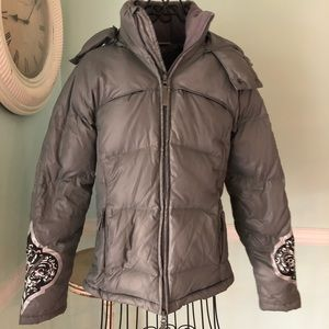 ATHLETA XS Gray Down puffer hooded coat